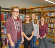 Büchereiteam 2015/2016: Anna Baumhoer, Silas Haake, Alexa Lingner, Nane Weingarten